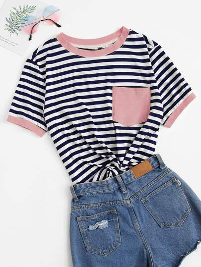 Plus Patch Pocket Striped Ringer Top