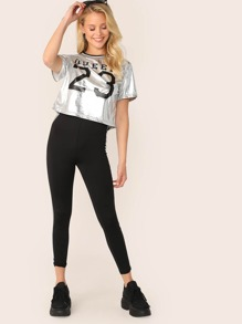 Tape Trim Figure Print Metallic Top & Striped Side Leggings Set