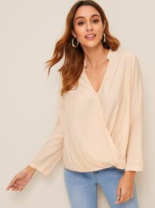 Solid High Low Surplice Blouse