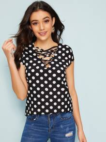 Polka Dot Criss-cross Blouse