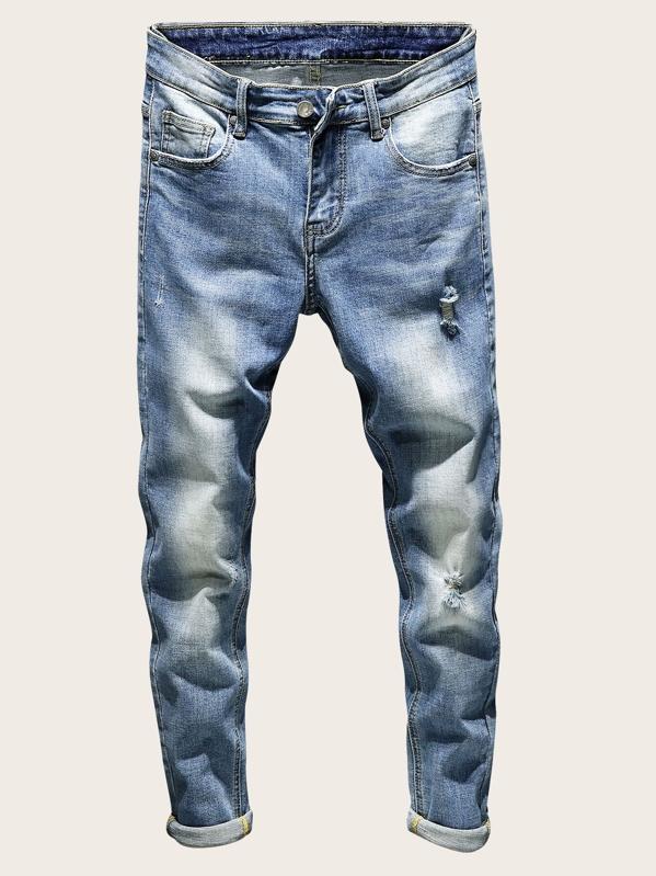 486a0bf1f8 Men Ripped Roll Up Hem Skinny Jeans