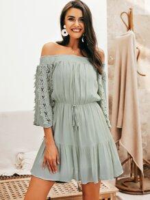 9d629824984 Simplee Lace Insert Tied Waist Ruffle Hem Bardot Dress