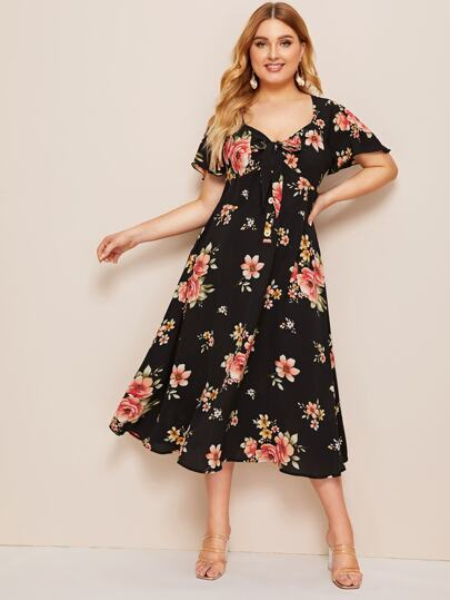 117ae14dce Plus Knotted Front Floral Print Fit & Flare Dress