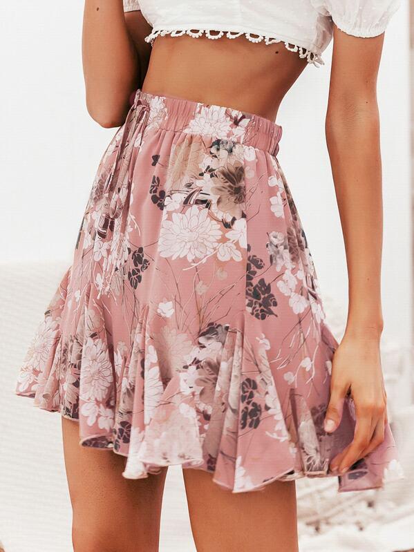 27694d65f Simplee falda godet con estampado floral de cintura con cordón