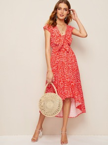 Ditsy Floral Print Tie Front Peekaboo Dress