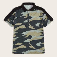 Guys Contrast Panel Camo Print Polo Shirt