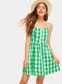 Gingham Button Front Slip Dress