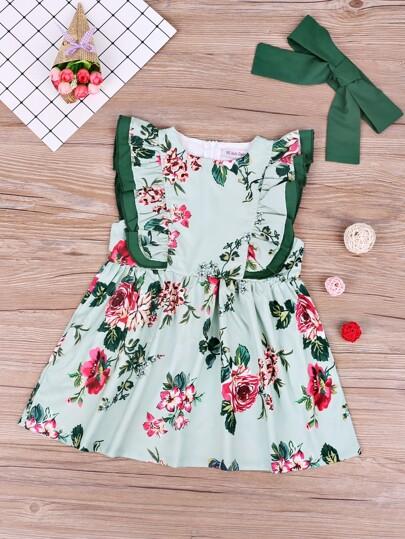 cd23f6f44b Vestido de niñitas ribete fruncido con estampado floral con diadema