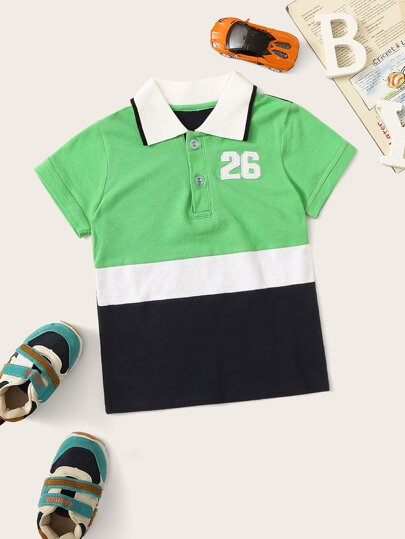Toddler Boys Cut And Sew Panel Polo Shirt