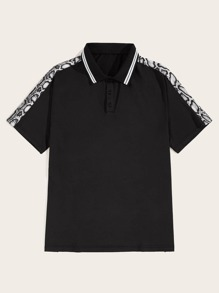 Men Contrast Snake Print Polo Shirt