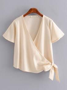 Knot Side Wrap Blouse
