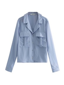 Solid Pocket Button Front Blouse