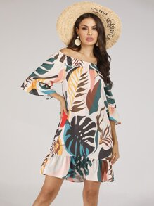 Tropical Print Ruffle Hem Off Shoulder Dress