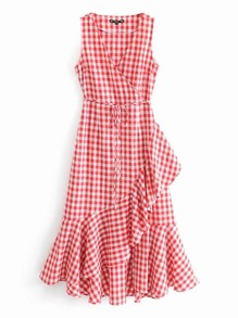 Asymmetrical Ruffle Hem Belted Gingham Dress