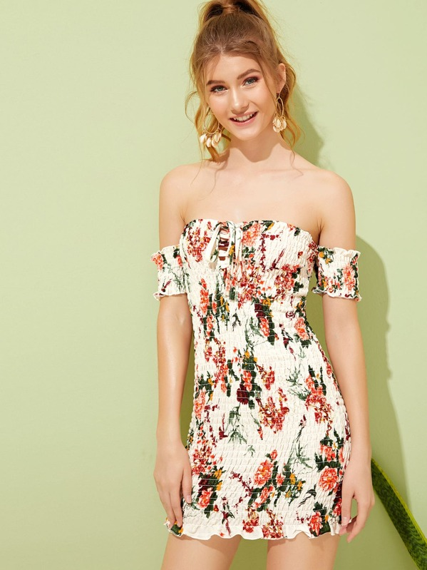 1cc6713f44 Floral Print Knot Shirred Off Shoulder Dress | SHEIN
