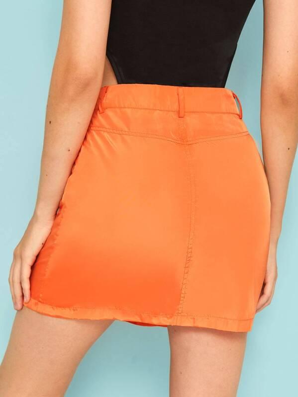 92c361386c1f Flat Pockets Slit Neon Orange Cargo Skirt | SHEIN