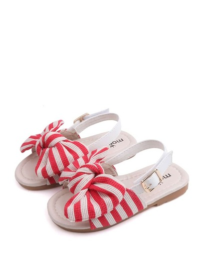 Baby Girls Striped Bow Decor Sandals