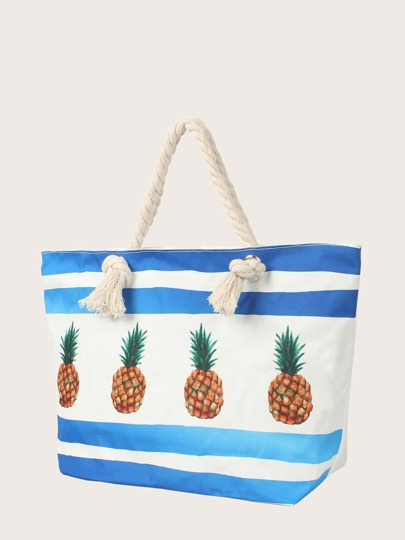 baab8a53f1 Borsa shopping con stampa ananas con pochette
