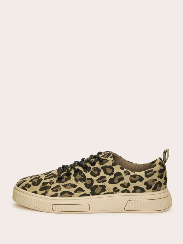53cb641b9c Lace-up Front Leopard Sneakers | SHEIN UK