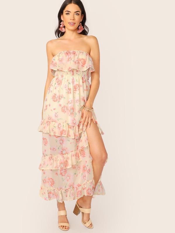 b95ac80cc1 Strapless Tiered Ruffle Floral Chiffon Maxi Dress | SHEIN