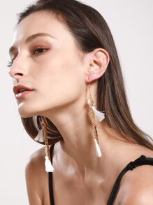 Feather & Leaf Embellished Drop Earrings