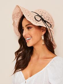 Lace-up Hollow Woven Floppy Hat