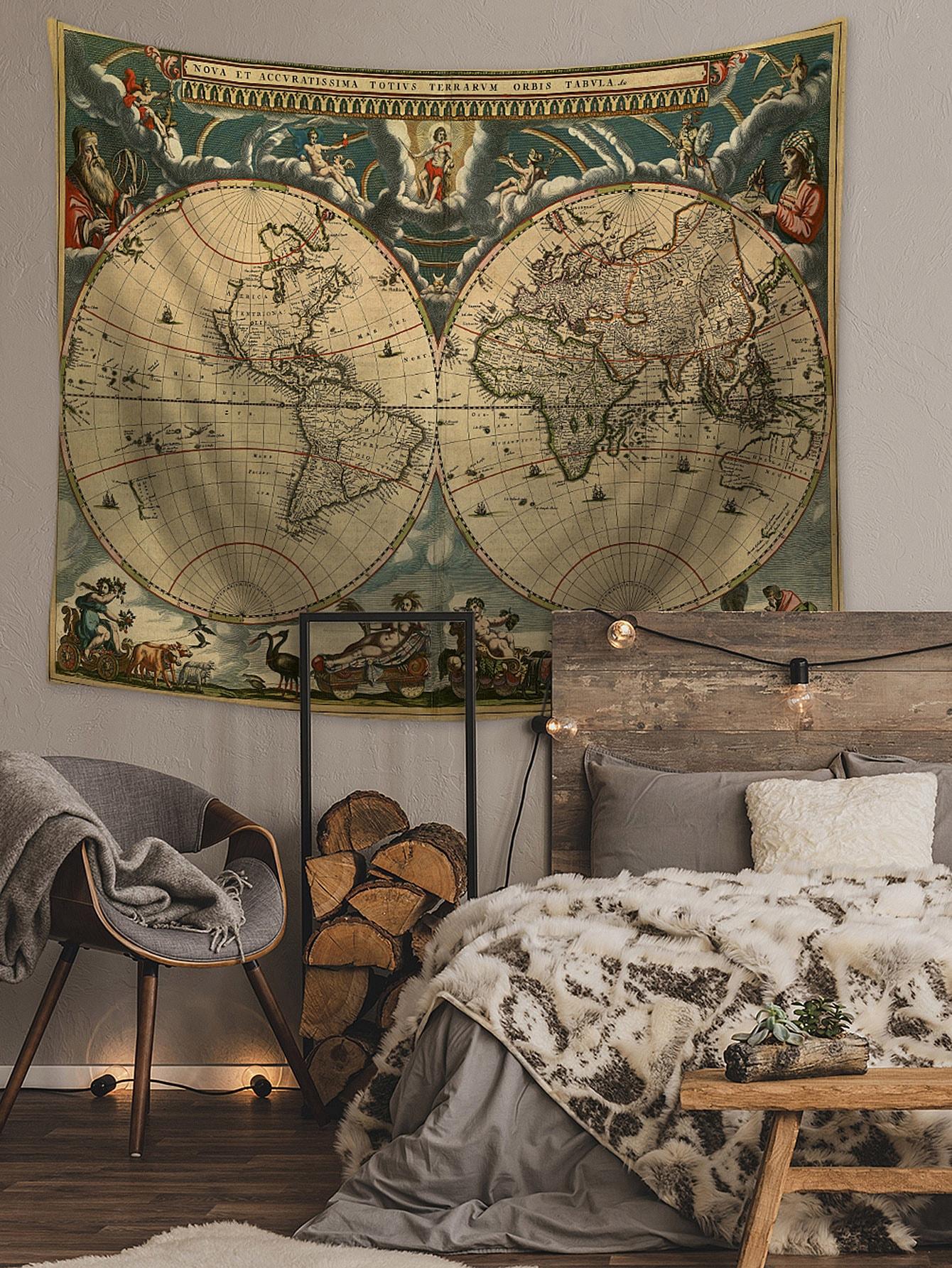 tapisserie avec imprim carte du monde shein. Black Bedroom Furniture Sets. Home Design Ideas