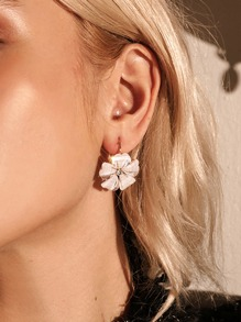 Glitter Flower Shaped Stud Earring 1pair