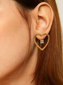 Heart Shaped Bar Hoop Earring 1pair