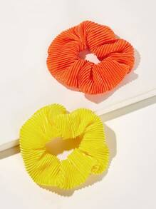 Solid Pleated Scrunchie 2pcs