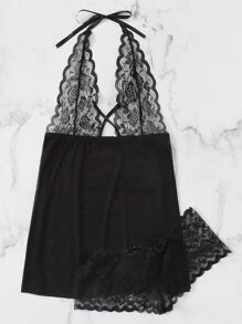 Plus Scalloped Trim Contrast Lace Dress With Panty