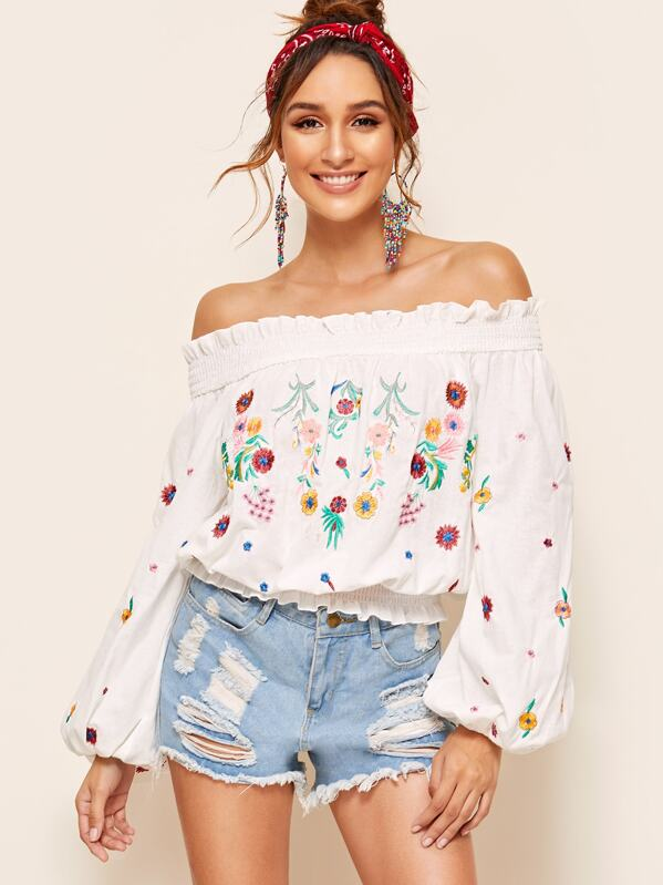 f8b63ed5652 Off Shoulder Shirred Panel Embroidered Top | SHEIN
