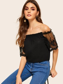 Off Shoulder Lace Mesh Sleeve Top