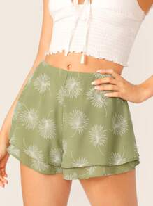 Leaves Print Double Layer Shorts