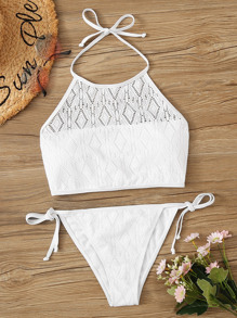 Laser Cut-out Halter Top With Tie Side Bikini Set