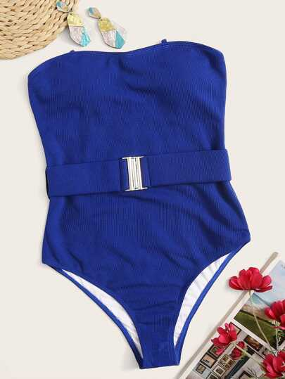 e26d499d43bac9 Rib Belted Bandeau One Piece Swimsuit