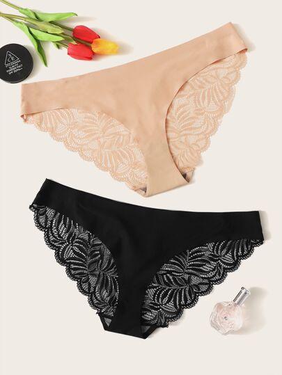 2511a425c5f Plus Floral Lace Panty Set 2pack