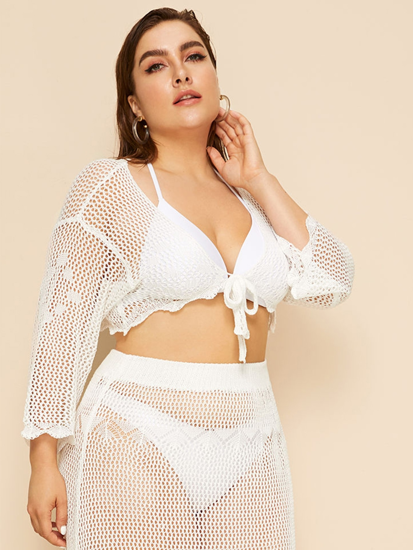 Plus Crochet Sheer Cover Up Without Bikini Skirt Shein Uk