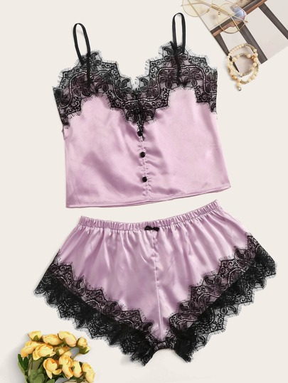 fea20c9393 Floral Lace Button Front Satin Cami With Shorts