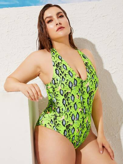 17e34b92885 Plus Snakeskin Backless Halter One Piece Swimsuit