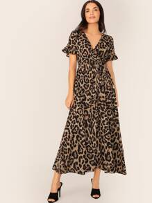 Leopard Print Surplice Neck Belted Dress