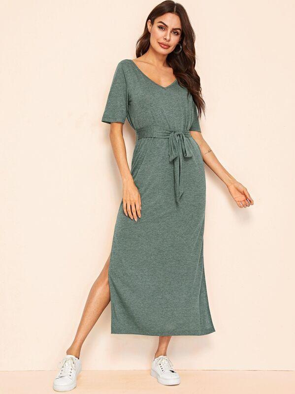1ca0a63c396 V Neck M-slit Hem Belted T-Shirt Dress   SHEIN