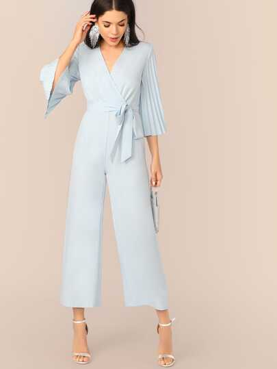 cd7deab46fddf Pleated Sleeve Wrap Belted Wide Leg Jumpsuit