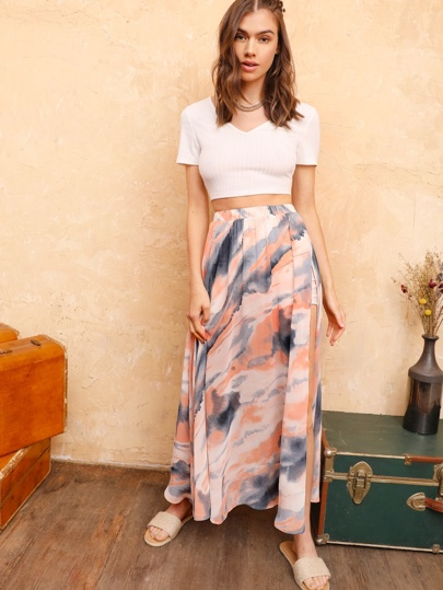 Gonna maxi tie dye con spacchi laterali