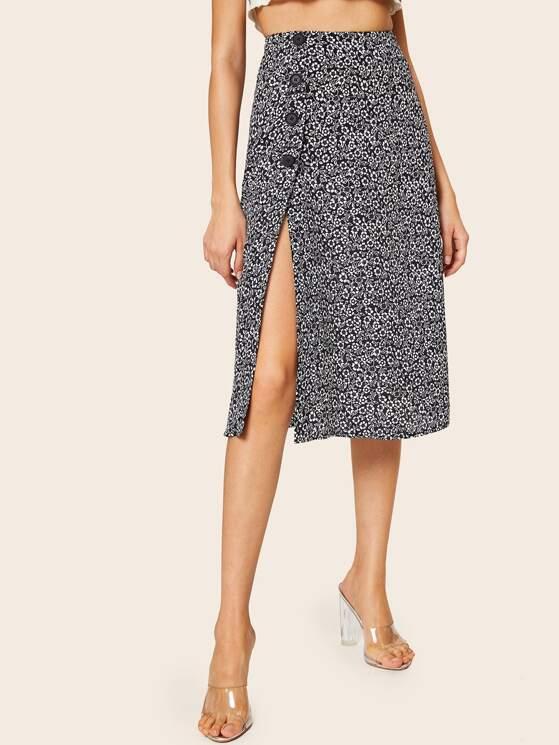 Ditsy Floral Button Side Split Thigh Skirt by Make Me Chic