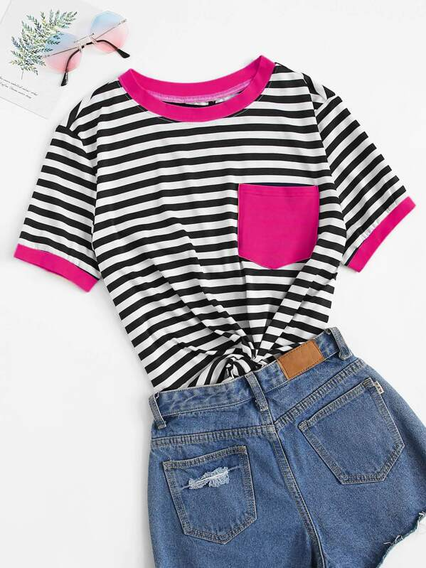 abd6d4f413 Pocket Patch Striped Ringer Tee | SHEIN
