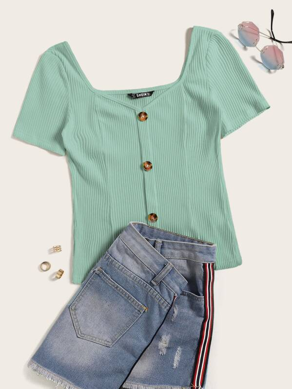 36e4fc8fa122 Plus Button Front Rib-knit Sweetheart Tee | SHEIN