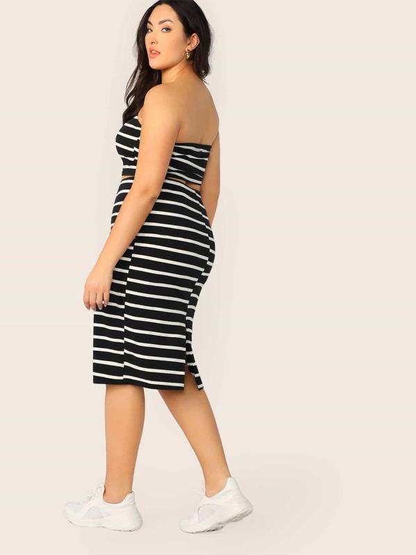 9063232b0e Cheap Plus Striped Bandeau Top & Pencil Skirt Set for sale Australia ...