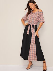 Glen Plaid Print Belted Asymmetrical Neck Maxi Dress