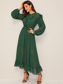 Tie Neck Bishop Sleeve Chiffon Maxi Dress